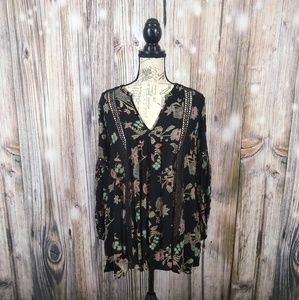 Free People Floral Swingy Boho Mini Dress Small